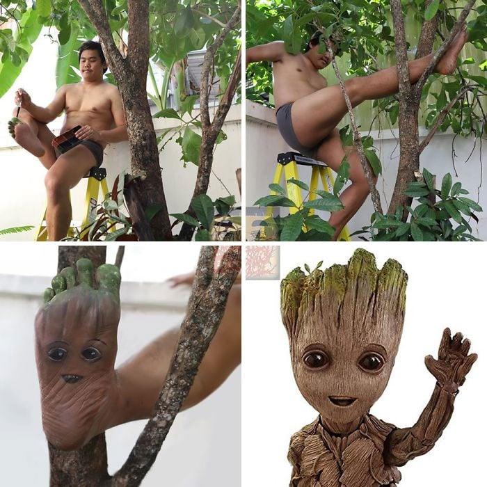 Cosplay de Anucha Saengchart como Groot