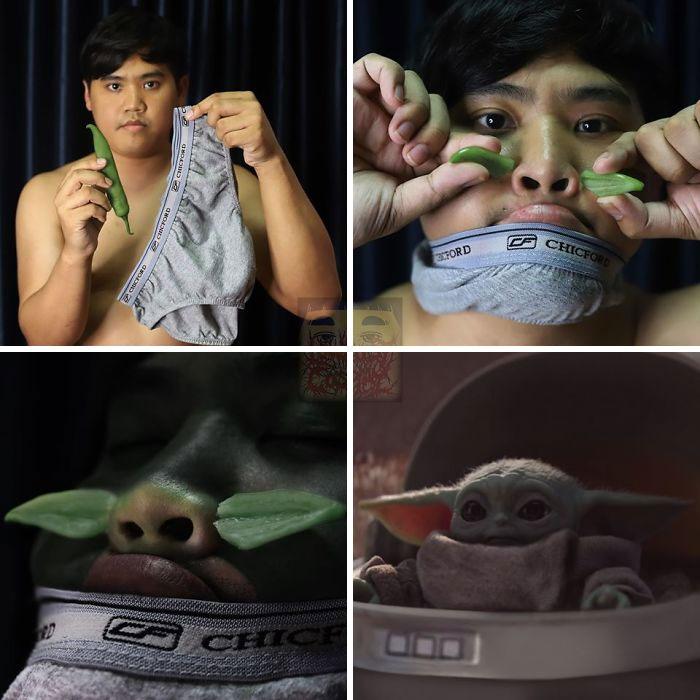 Cosplay de Anucha Saengchart como bebé Yoda