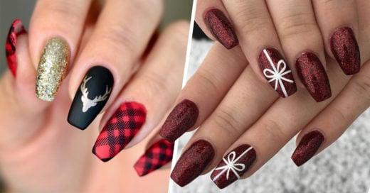 15 Diseños en rojo para una manicura navideña