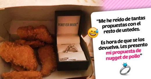 Esta mujer recibió su anillo de compromiso dentro de una caja de nuggets