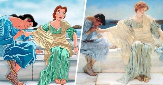 Recrea pinturas con personajes Disney, el resultado es un cuento de hadas