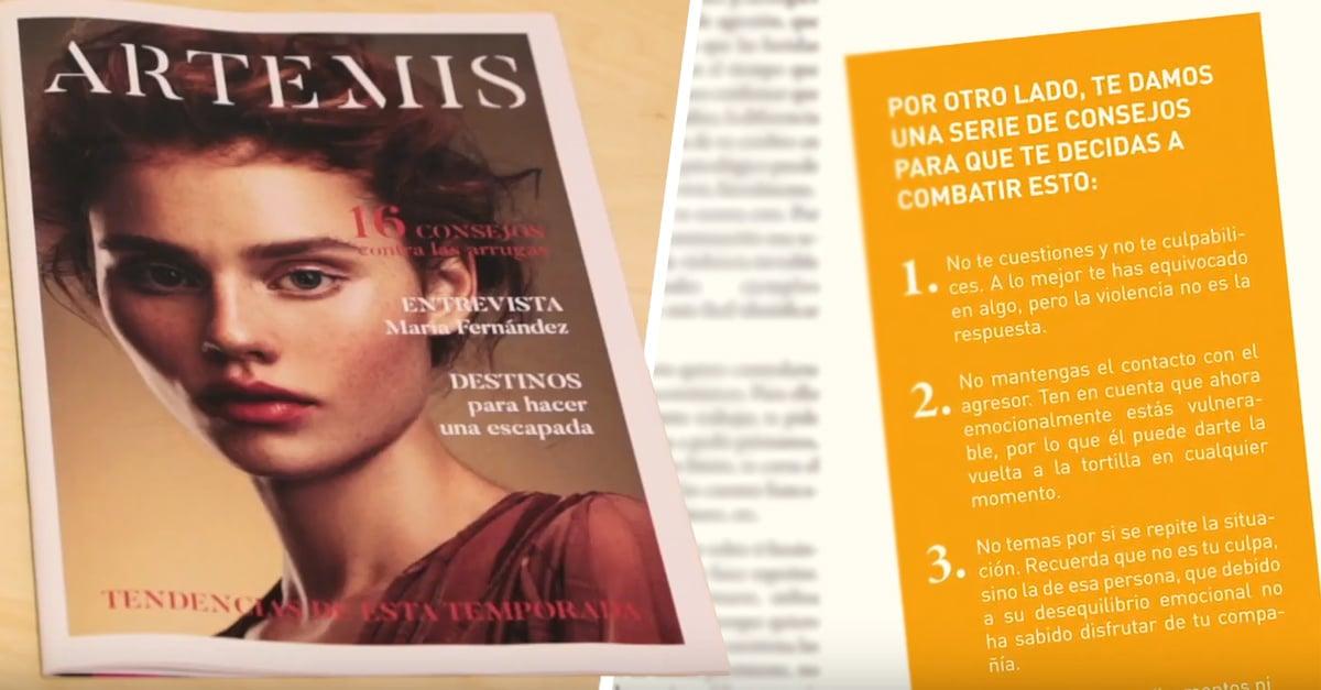 Artemis, la falsa revista de moda que ayuda a mujeres que sufren maltrato
