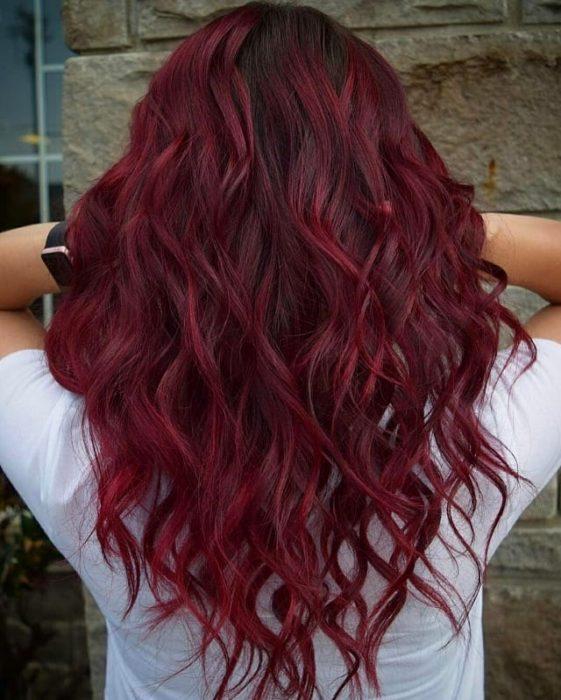 Tinte cabello cherry coke borgoña largo