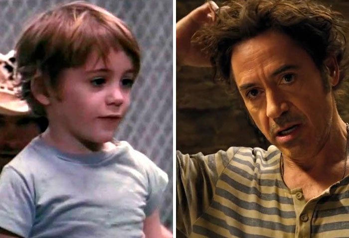 Robert Downey Jr en su primer papel actoral vs el último