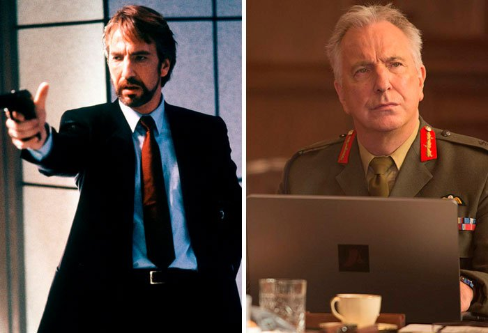 Alan Rickman en su primer papel actoral vs el último