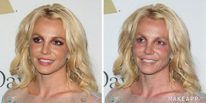 Britney Spears antes y después de usar MakeApp y eliminar el maquillaje