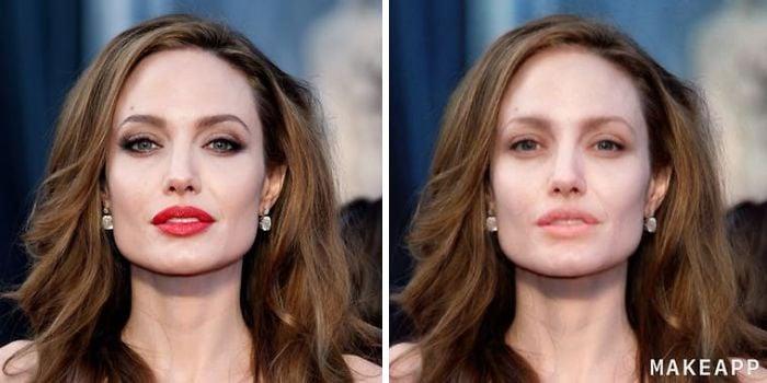 Angelina Jolie antes y después de usar MakeApp y eliminar el maquillaje