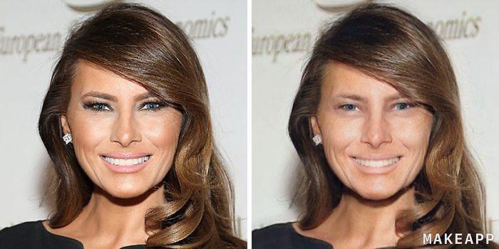 Melania Trump antes y después de usar MakeApp y eliminar el maquillaje