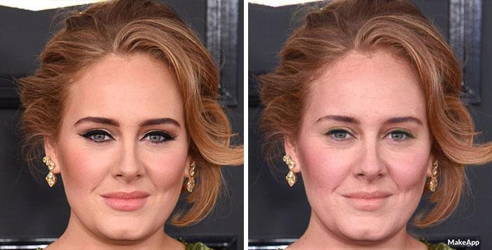 Adele antes y después de usar MakeApp y eliminar el maquillaje