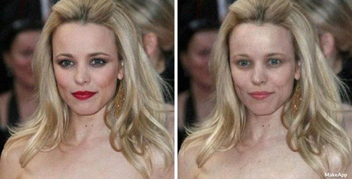 Rachel McAdams antes y después de usar MakeApp y eliminar el maquillaje