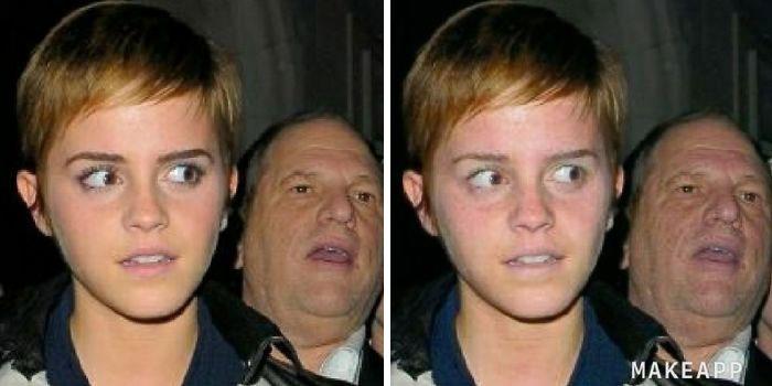 Emma Watsoon antes y después de usar MakeApp y eliminar el maquillaje