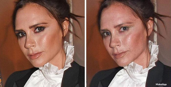 Victoria Beckham antes y después de usar MakeApp y eliminar el maquillaje