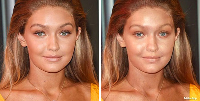 Gigi Hadid antes y después de usar MakeApp y eliminar el maquillaje
