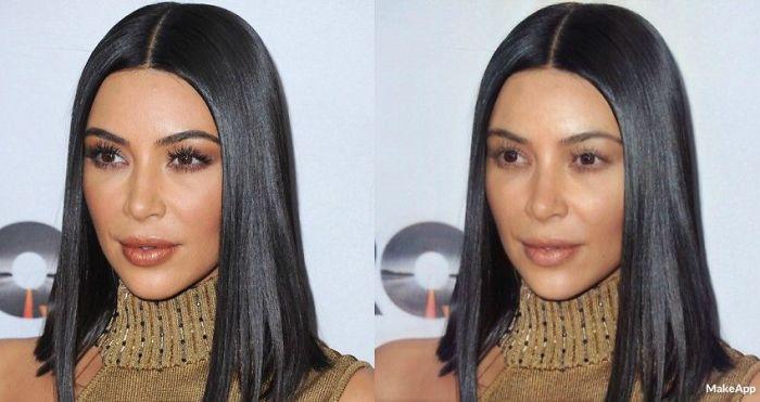 Kim Kardashian antes y después de usar MakeApp y eliminar el maquillaje