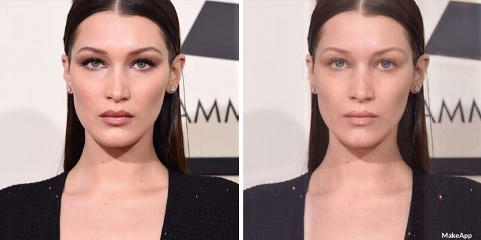 Bella Hadid antes y después de usar MakeApp y eliminar el maquillaje
