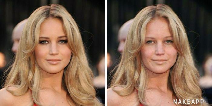 Jennifer Lawrence antes y después de usar MakeApp y eliminar el maquillaje