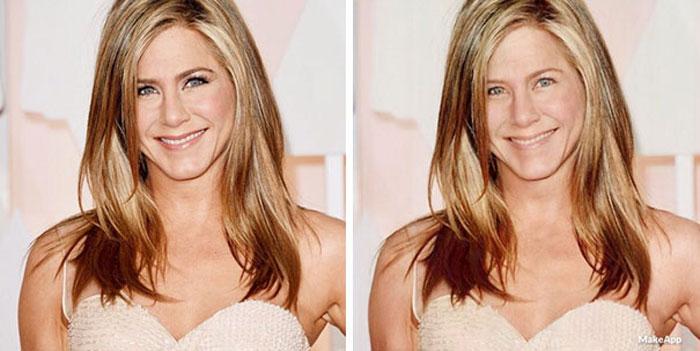 Jennifer Aniston antes y después de usar MakeApp y eliminar el maquillaje