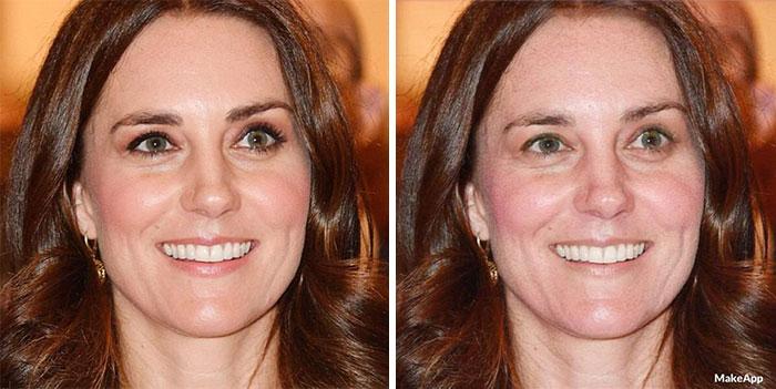 Kate Midelton antes y después de usar MakeApp y eliminar el maquillaje