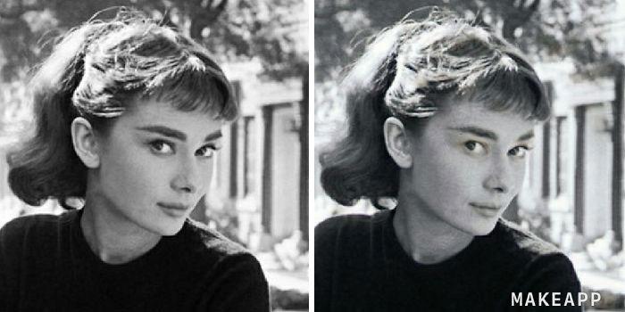 Audrey Hepburn antes y después de usar MakeApp y eliminar el maquillaje
