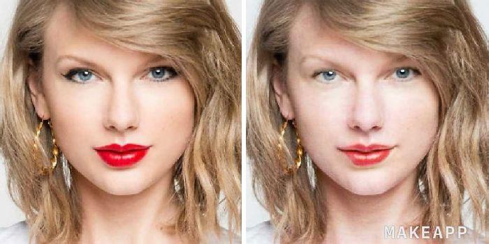 Katy Perry antes y después de usar MakeApp y eliminar el maquillaje