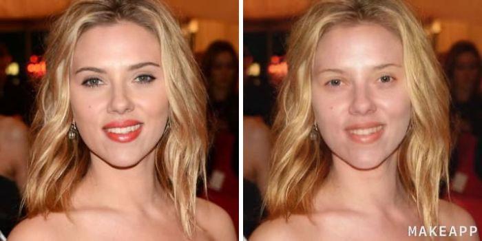Scarlett Johansson antes y después de usar MakeApp y eliminar el maquillaje