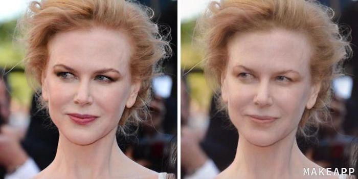 Nicole Kidman antes y después de usar MakeApp y eliminar el maquillaje