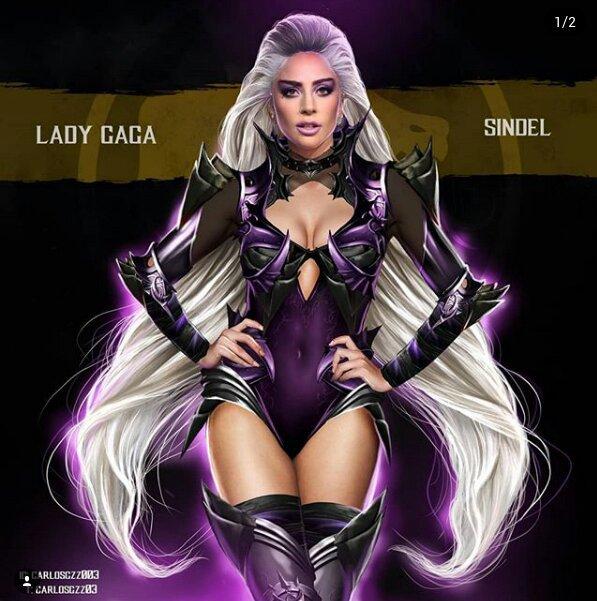 Lady Gaga como Sindel ilustrada por Carlos Gonzalez