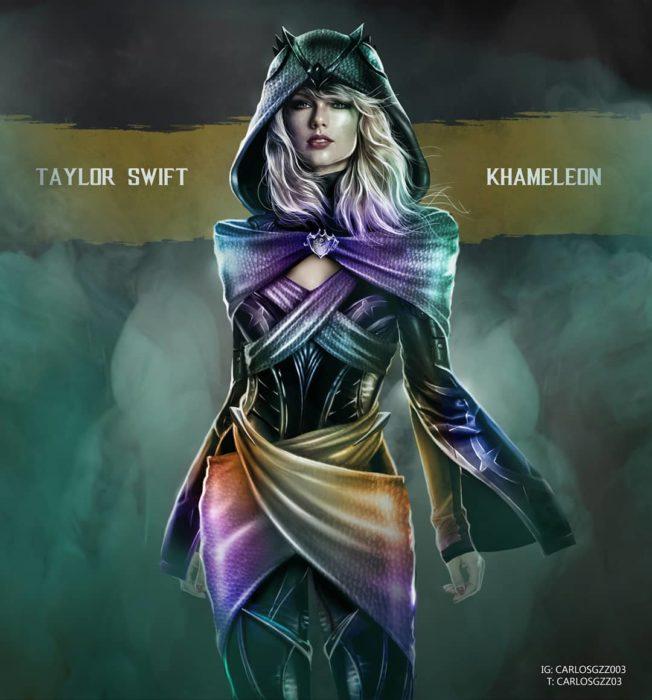 Taylor Swift como Khameleon ilustrada por Carlos Gonzalez