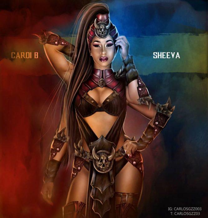 Cardi B como Sheeva ilustrada por Carlos Gonzalez