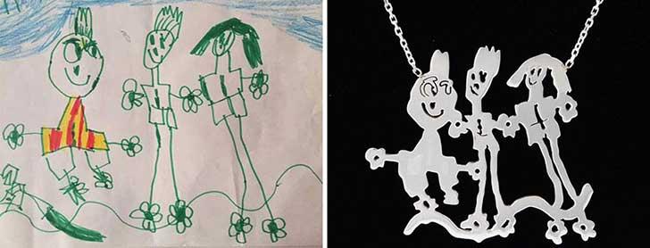 Dibujo de una familia con garabatos hecho joyería
