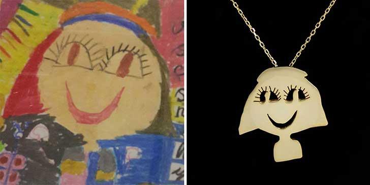 Dibujo de niña con garabatos hecho joyería