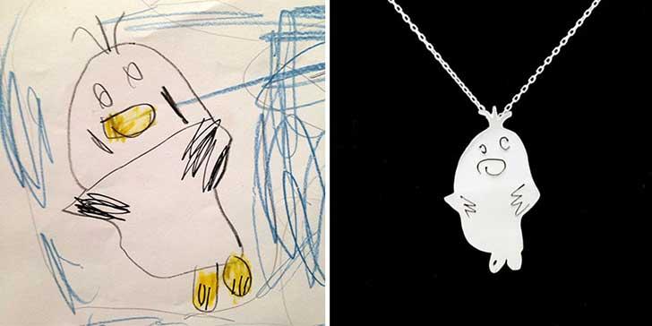 Dibujo de patito con garabatos hecho collar de plata