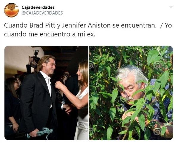 Tuit sobre el rencuentro de Brad Pitt y Jennifer Aniston