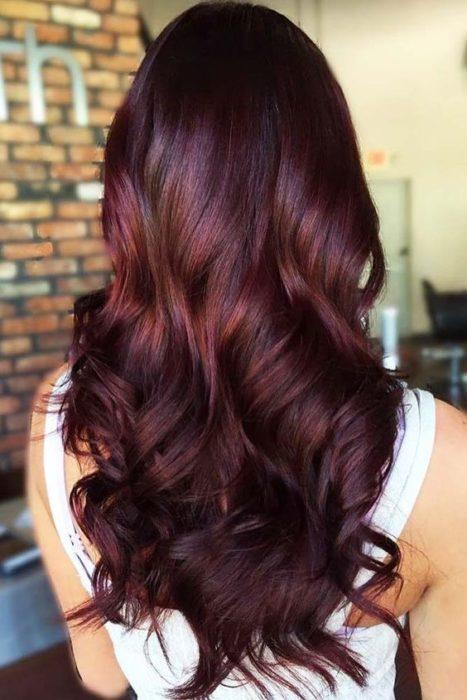 Chica de espaldas con cabello largo, teñido en tono cherry wine con luces