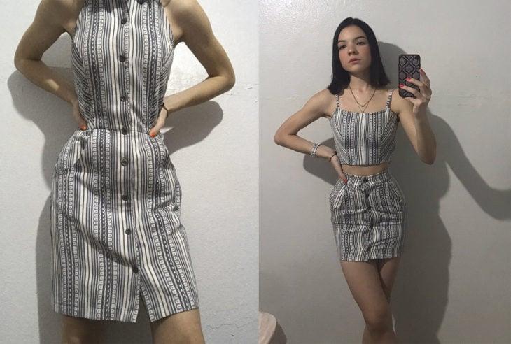 Chica con un vestido de playa modificado en un top con una falda corta