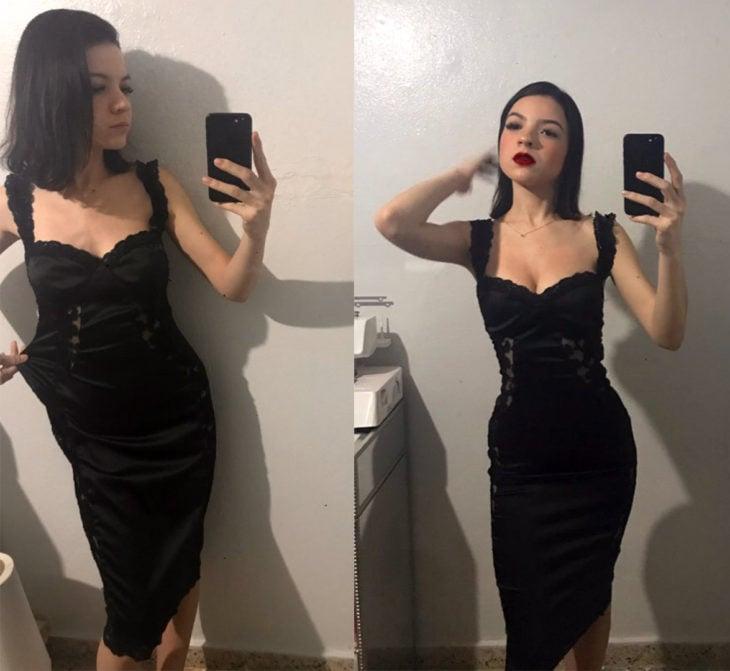 Chica con un vestido de encaje negro modificado a su medida