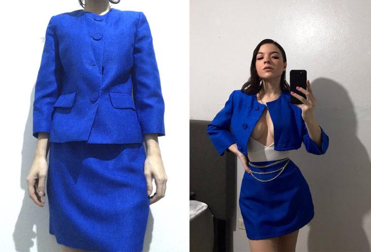 Chica con un traje sastre y después modificado a un atuendo sexi