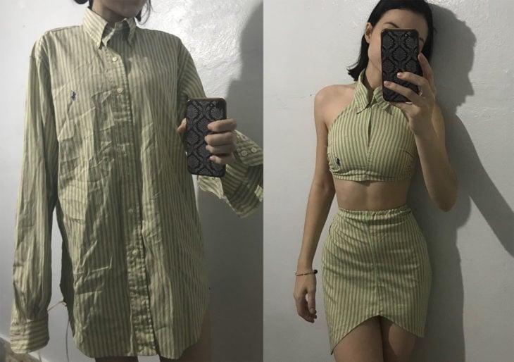 Chica con una camisa de hombre y después modificada en una falda y crop top
