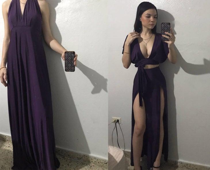 Chica con un vestido holgado modificado en un vestido de falda larga y top