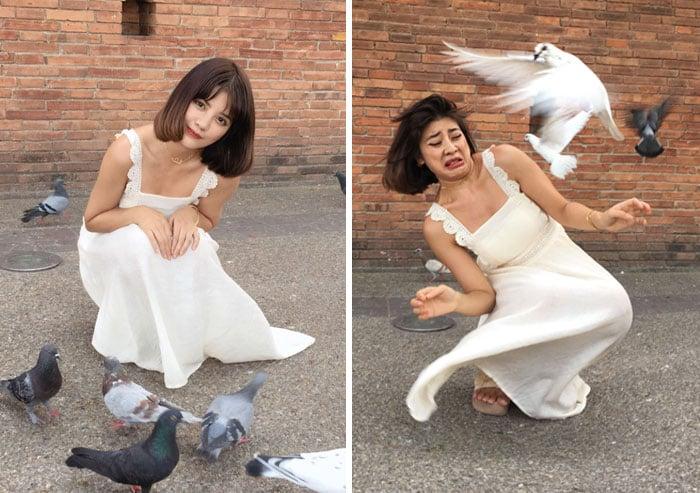 Chica frente a un grupo de palomas blancas realidad detrás fotos instagram
