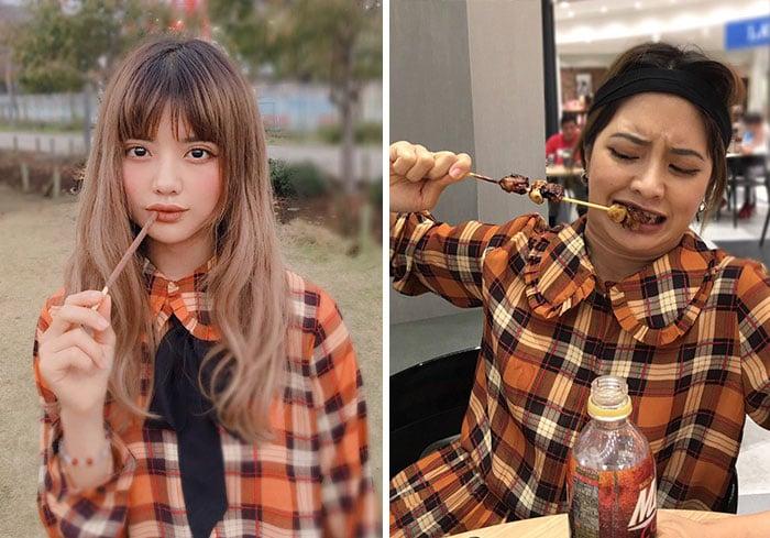 Vienna comiendo brochetas de carne y verduras realidad detrás fotos instagram