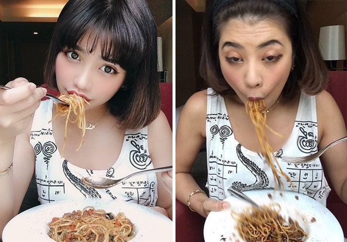 Vienna comiendo pasta con especias realidad detrás fotos instagram