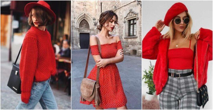 Chicas llevando outfit en tono rojo