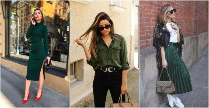 Chicas llevando outfit en tono verde