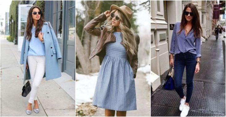 Grupo de chicas llevando outfits en tonos azul cielo