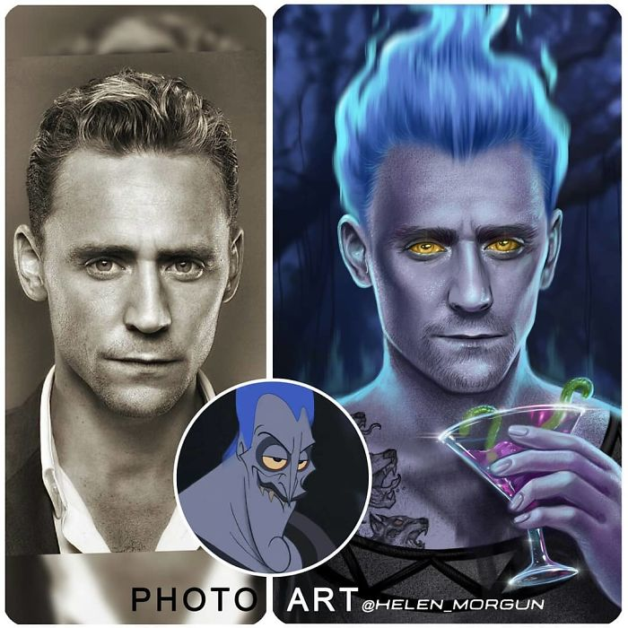 Tom Hiddleston como Hades ilustrada por Helen Morgun