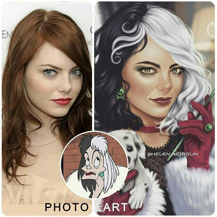 Emma Stone como Cruella de Vil ilustrada por Helen Morgun