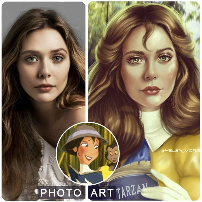 Elizabeth Olsen como Jane ilustrada por Helen Morgun