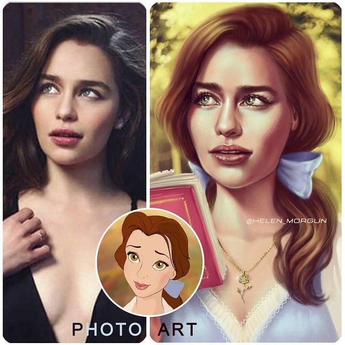 Emilia Clarke como Bella ilustrada por Helen Morgun