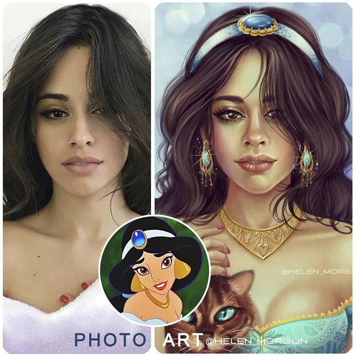 Camila Cabello como Jazmín ilustrada por Helen Morgun